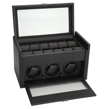 Load image into Gallery viewer, Diplomat Three Watch Winder, 12 Watch Storage Smart Internal Bi-Directional Timer Control. Carbon Fiber Pattern Leatherette Interior