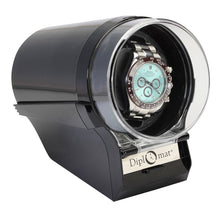 Load image into Gallery viewer, Diplomat Single Watch Winder Choose color: Black, Silver/Black or Red/Black. 12 Programmed Settings and AC Powered Japanese Mabuchi Motor