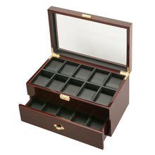 Load image into Gallery viewer, Diplomat  Twenty Watch Case With Leatherette Interior and Locking Lid Choose Ebony or Cherry Finish