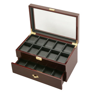 Diplomat  Twenty Watch Case With Leatherette Interior and Locking Lid Choose Ebony or Cherry Finish