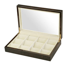 Load image into Gallery viewer, Diplomat See Through Twelve Pocket Watch Case with Cream Suede Interior, Choose Black or Burl Wood Finish