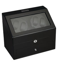 Load image into Gallery viewer, Diplomat Phantom Four Watch Winder 4 Watch Storage AC/Battery Powered LED Lit, Lock and Key. Smart Internal Bi-Directional Timer Control