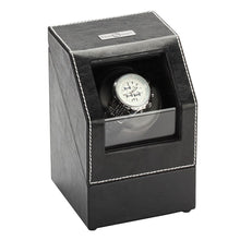 Load image into Gallery viewer, Diplomat Single Watch Winder Battery/AC Powered, Smart Internal Bi-Directional Timer Control, Leatherette Wrapped with Gray Microfiber Suede Interior