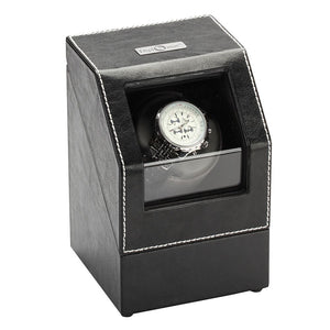 Diplomat Single Watch Winder Battery/AC Powered, Smart Internal Bi-Directional Timer Control, Leatherette Wrapped with Gray Microfiber Suede Interior