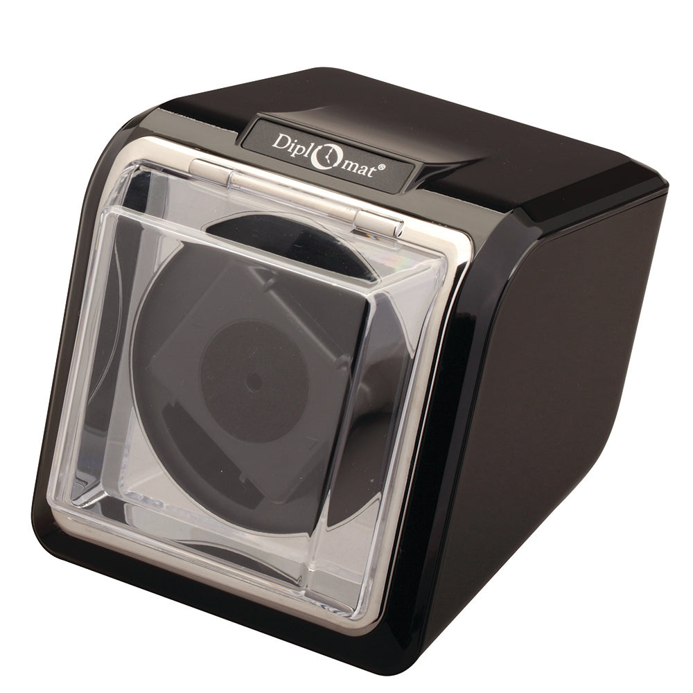 Diplomat Single Watch Winder and Smart Internal Bi-Directional Timer Control, Black Finish with Chrome Accents