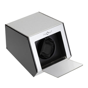 Diplomat Single Illuminum Watch Winder Choose Color AC Adapter or Two C Batteries. Expandable Smart Internal Bi-Directional Timer Control Touch Sensor Display, LED Lit Aluminum Exterior