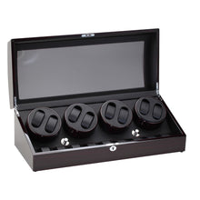 Load image into Gallery viewer, Diplomat Eight Watch Winder Nine Wristwatch Storage. Choose Color. Smart Internal Bi-Directional Timer Control Wood Finish and Leatherette Interior