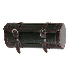 Diplomat Three Watch Travel Roll in Black Leatherette with Red Stitching and Black Suede Interior