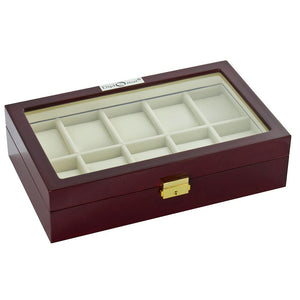 Diplomat Ten Watch Case With Locking Lid Choose Ebony or Cherry Wood Finish