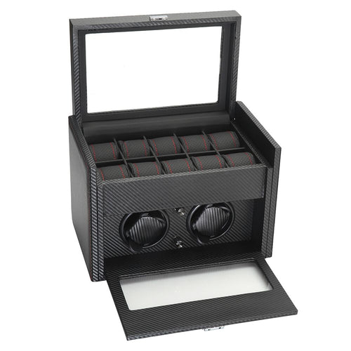 Diplomat Modena Series Double Watch Winder AC Adapter/Battery Powered with 10 Watch Interior Storage Smart Internal Bi-Directional Timer Control. Carbon Fiber Pattern with 10 Soft Watch Cushions