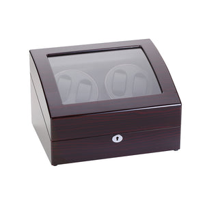 Diplomat Quad Watch Winder  5 Watch Storage AC / Battery Powered Smart Internal Bi-Directional Timer, Wood Finish, Leatherette Interior