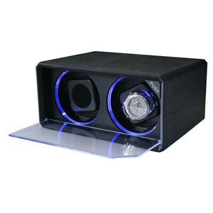 Diplomat Double Watch Winder with Blue LED's AC Adapter Included.  Smart Internal Bi-Directional Timer Control, Black Leatherette Exterior