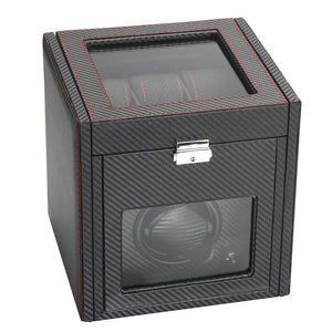 Diplomat Modena Series Single Watch Winder AC Adapter/Battery Powered with 6 Watch Interior Storage, Smart Internal Bi-Directional Timer Control. Carbon Fiber Pattern with 6 Soft Watch Cushions