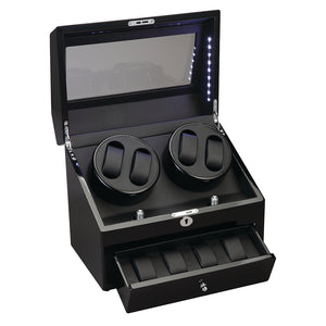 Diplomat Phantom Four Watch Winder 4 Watch Storage AC/Battery Powered LED Lit, Lock and Key. Smart Internal Bi-Directional Timer Control