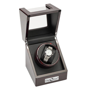 Diplomat Estate Single Watch Winder AC/Battery - Avail in Burl, Ebony or Cherry