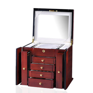 Diplomat Elegant Teak Wood Finish Jewelry Chest with 4 Drawers and 2 Pull Out Chain Racks and Locking Lid With Cream Leatherette Interior