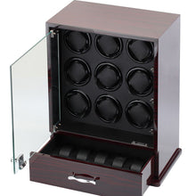 Load image into Gallery viewer, Diplomat Nine Watch Winder 10 Watch Storage Choose from Three Wood Finishes. Locking Glass Door and Smart Internal Bi-Directional Timer Control