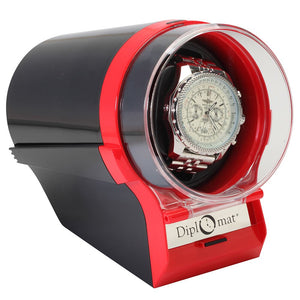 Diplomat Single Watch Winder Choose color: Black, Silver/Black or Red/Black. 12 Programmed Settings and AC Powered Japanese Mabuchi Motor