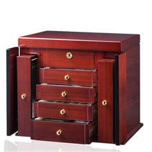 Load image into Gallery viewer, Diplomat Elegant Teak Wood Finish Jewelry Chest with 4 Drawers and 2 Pull Out Chain Racks and Locking Lid With Cream Leatherette Interior