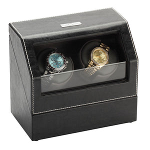 Diplomat Double Watch Winder, Battery/AC Powered. Leather with Microfiber Suede Interior, Smart Internal Bi-Directional Timer Control