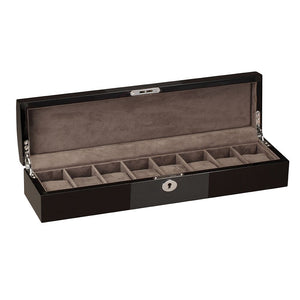 Diplomat Eight Watch Storage, Lock and Key, Choose From Three Styles. Wood Finish  with Center Wood Finish Accents and Soft Interior