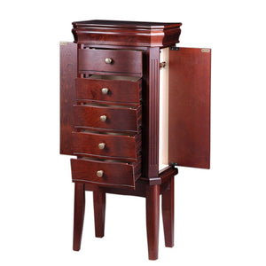 Diplomat Jewelry Armoire with 5 Drawers 2 Side Doors Cream Felt Interior, Cherry Wood Finish and Charging Station area