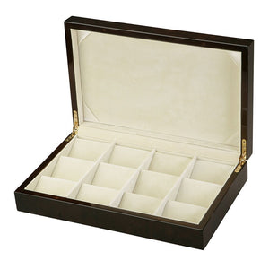 Diplomat Twelve Pocket Watch Case Choose Black or Burl Wood Finish Removable Watch Tray, Cream Suede Interior
