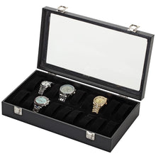 Load image into Gallery viewer, Diplomat Eighteen Watch Case with Adjustable Inserts, Black Leatherette with Felt Interior