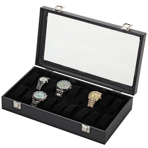 Diplomat Eighteen Watch Case with Adjustable Inserts, Black Leatherette with Felt Interior