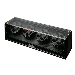 Diplomat Gothica Eight Watch Winder with Black Carbon Fiber Pattern Interior and Black Glossy Exterior