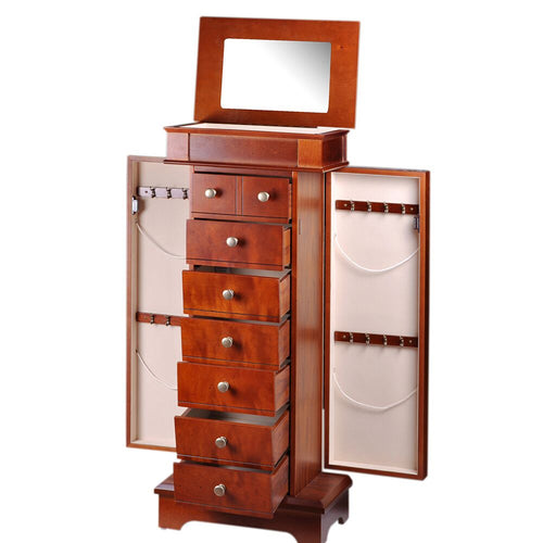 Diplomat Jewelry 7 Drawer Armoire 2 Side Doors, Area for Charging Station. Exterior Mahogany Wood Finish Cream Felt Interior