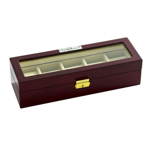 Diplomat Five Watch Case Locking Lid Choose from Two Styles, Wood Finish and Leatherette Interior