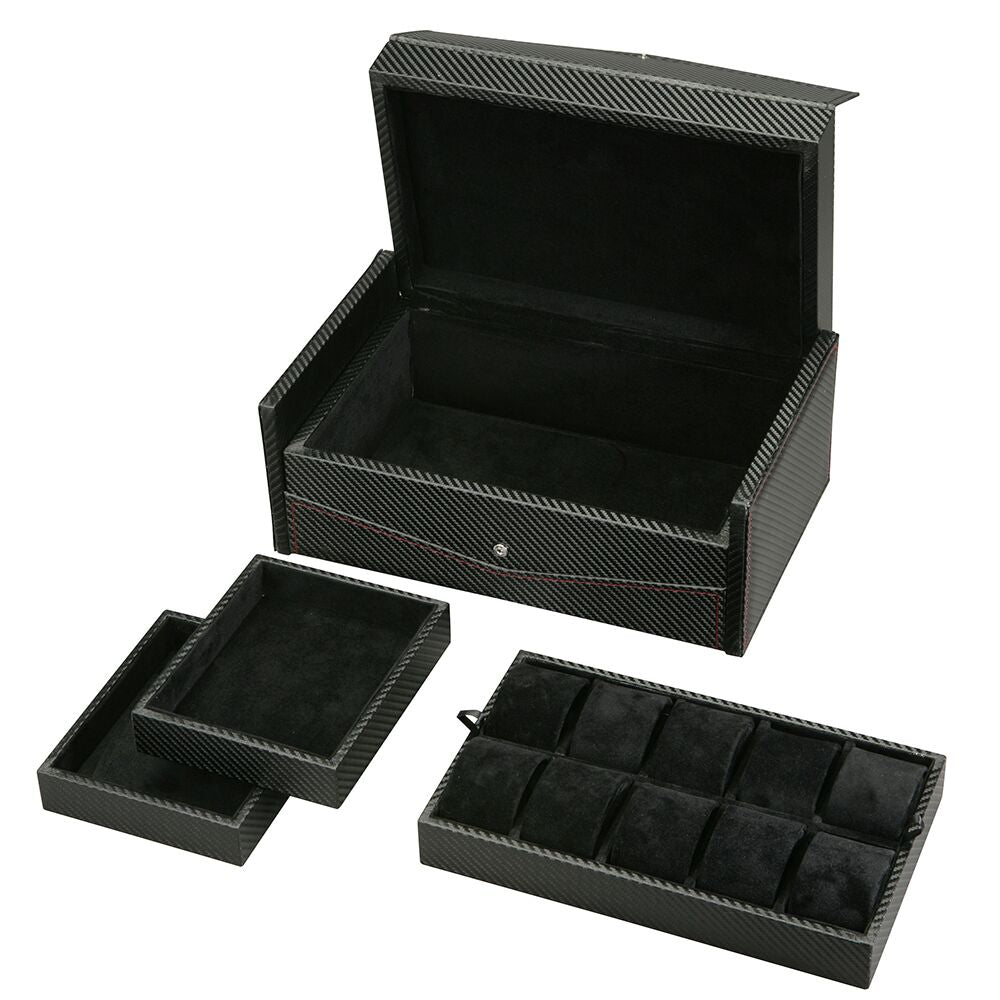 Diplomat Ten Watch Case Black Carbon Fiber Pattern, Red Stitching and Black Suede Interior, Removable Trays