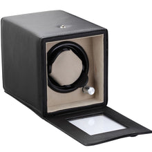 Load image into Gallery viewer, Diplomat Black Single Watch Winder Battery/AC Powered with Smart Internal Bi-Directional Timer Control, Leatherette  with Soft Tan Suede Interior