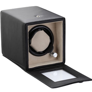 Diplomat Black Single Watch Winder Battery/AC Powered with Smart Internal Bi-Directional Timer Control, Leatherette  with Soft Tan Suede Interior