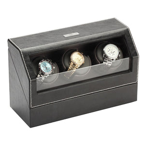 Diplomat Triple Watch Winder, Smart Internal Bi-Directional Timer Control, AC Powered. Black Leather with Gray Microfiber Suede Interior