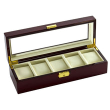 Load image into Gallery viewer, Diplomat Five Watch Case Locking Lid Choose from Two Styles, Wood Finish and Leatherette Interior