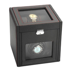 Load image into Gallery viewer, Diplomat Modena Series Single Watch Winder AC Adapter/Battery Powered with 6 Watch Interior Storage, Smart Internal Bi-Directional Timer Control. Carbon Fiber Pattern with 6 Soft Watch Cushions