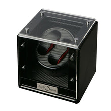 Load image into Gallery viewer, Diplomat Double Watch Winder Battery/AC Powered Smart Internal Bi-Directional Timer Control. Carbon Fiber Pattern Interior