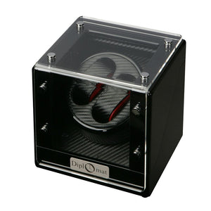 Diplomat Double Watch Winder Battery/AC Powered Smart Internal Bi-Directional Timer Control. Carbon Fiber Pattern Interior