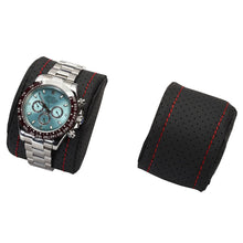 Load image into Gallery viewer, Diplomat Modena Series Watch Case Choose case size 10 or 20 watches. Carbon Fiber Pattern Black Leatherette Interior Red Stitched Accents