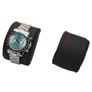 Diplomat Modena Series Watch Case Choose case size 10 or 20 watches. Carbon Fiber Pattern Black Leatherette Interior Red Stitched Accents