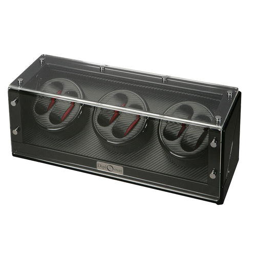 Diplomat Six Watch Winder with Smart Internal Bi-Directional Timer Control,  Gothica Black Wood with Black Carbon Fiber Pattern Interior