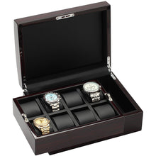 Load image into Gallery viewer, Diplomat Wood Finish Eight Watch Case, Leatherette Interior, Locking Lid, Choose Black Ebony or White