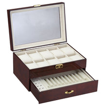 Load image into Gallery viewer, Diplomat Ten Watch Case with Drawer for Pens and Cufflink Storage, Wood Finish with Leatherette Interior