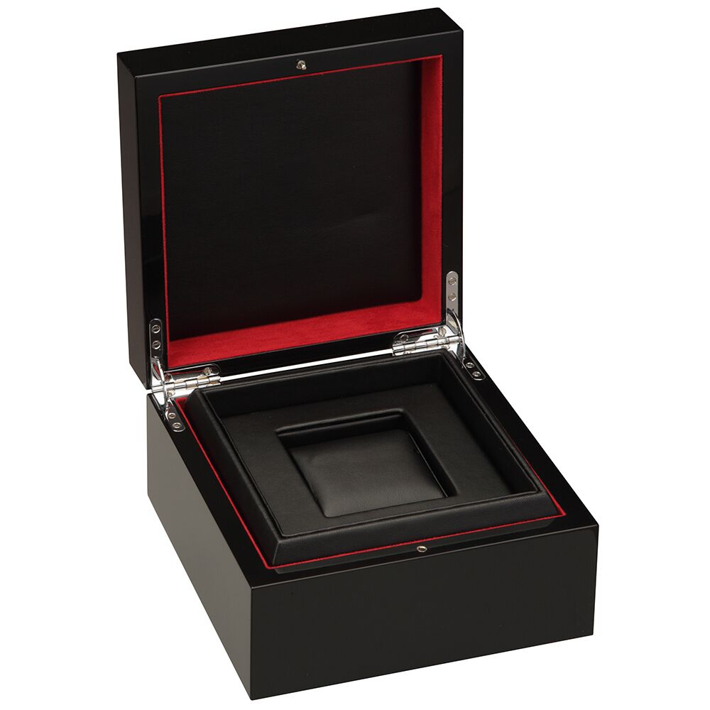 Diplomat Piano Finish Single Watch Case with Leatherette Interior. Choose Black or Brown