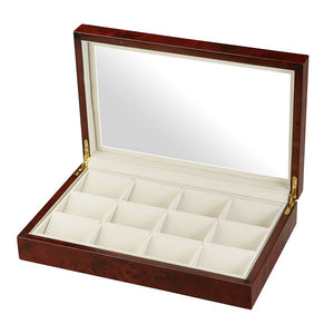 Diplomat See Through Twelve Pocket Watch Case with Cream Suede Interior, Choose Black or Burl Wood Finish