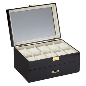 Diplomat Ten Watch Case with Drawer for Pens and Cufflink Storage, Wood Finish with Leatherette Interior
