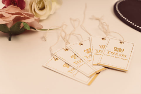 Bridal lingerie branding hang tags gold foil