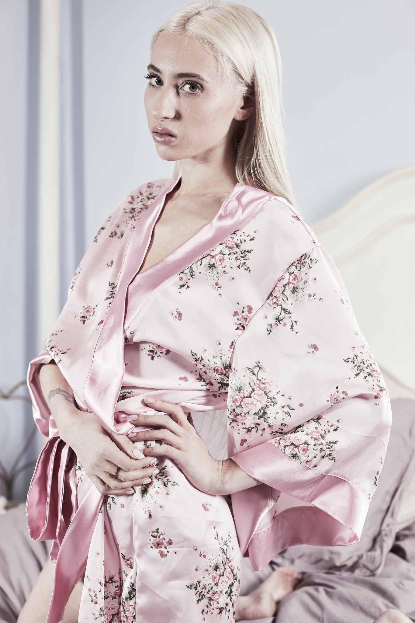 Flower printed satin robe for bridesmaids